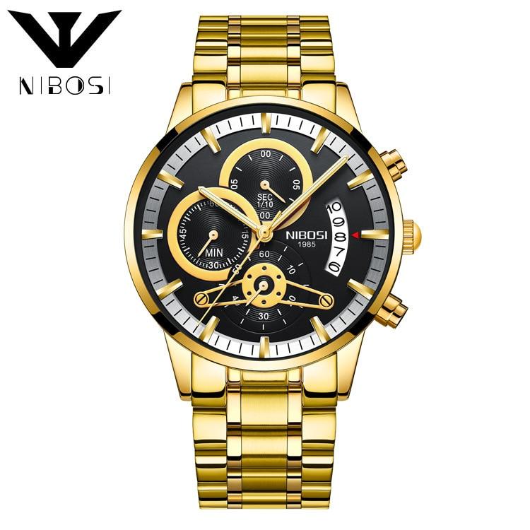 2309 New Style Nibosi Solid Steel Belt MEN'S Watch Waterproof Coated Glass Night Light Three-Eyed 6-Pin Quartz Watch
