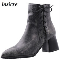 Insicre 2019 new woman ankle boots heel 6 cm women early winter boots big size 32 48 zipper pointed toe lace up ladies shoes