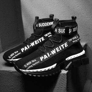 Image 3 - ファッション高トップ靴下通気性カジュアルメンズシューズ 2020 新しい男スニーカー黒と白のソフト軽量ビッグサイズzapatos hombre