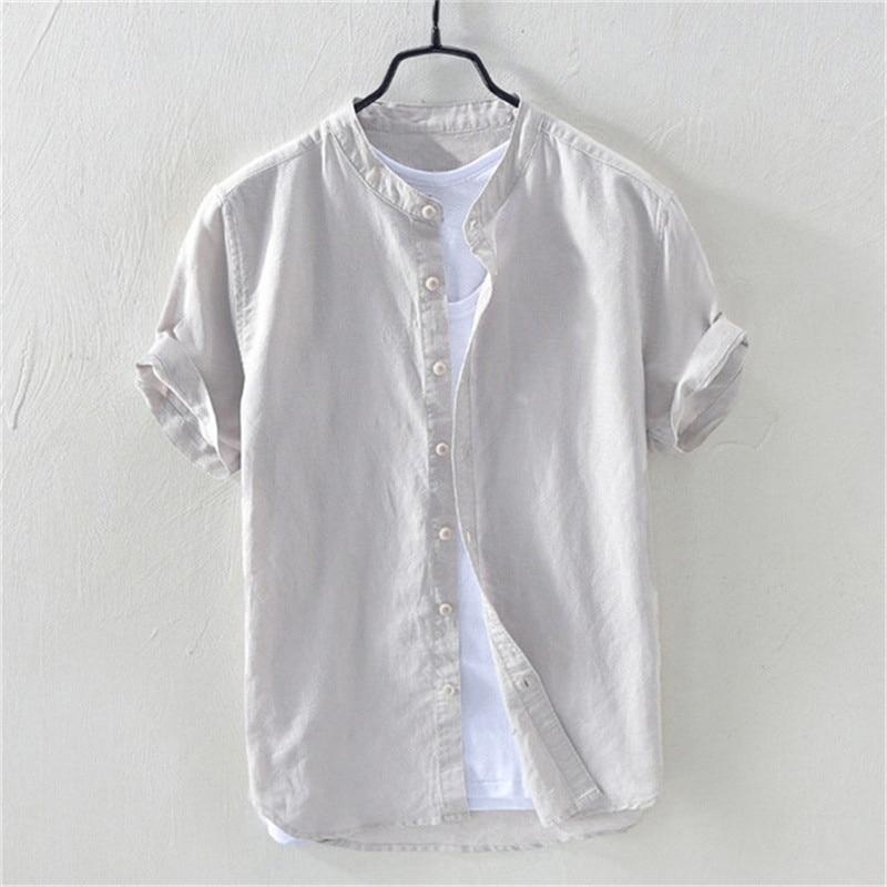2020 New Casual White Men's Loose T-Shirt Men's Cotton Solid Linen Short Sleeve Button Retro T-Shirt Men's Shirt