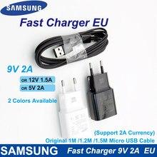 Para samsung carregador rápido ue 9v2a adaptador de parede carga micro cabo usb para samsung galaxy s6 s7 borda j3 j5 j7 note4 5 a3a5 a7 2016