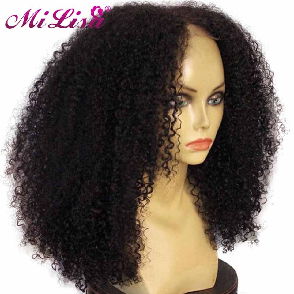 Afro Kinky Curly Wigs For Black Women Peruvian Mi Lisa Remy Hair Glueless Lace Front Human Hair Wigs Pre Plucked With Baby Hair