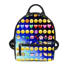 Women PU Leather Backpack Cartoon smiley face pack bag large capacity backpacks for teenage girls light ladies travel backpack
