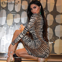 Chicology tiger print long sleeve sexy bodycon midi dress 2019 autumn winter women office lady elegant party club clothing