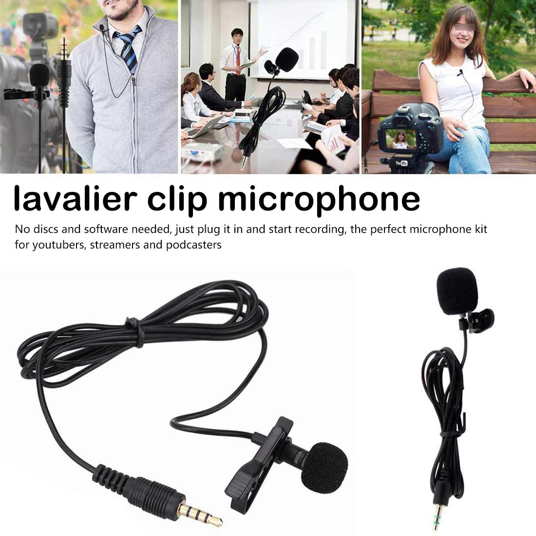 3.5mm External  Handsfree Speeching Microphone Mini Wired Collar Clip Lapel Lavalier Microphone For Teaching Speeching