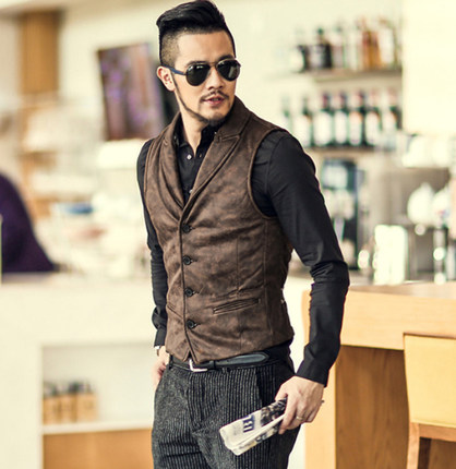 Men Retro Single Breasted Dress Suit Vest Men Formal Leather Wool Waistcoats Suit Gilet Slim Business Jacket Vest M52