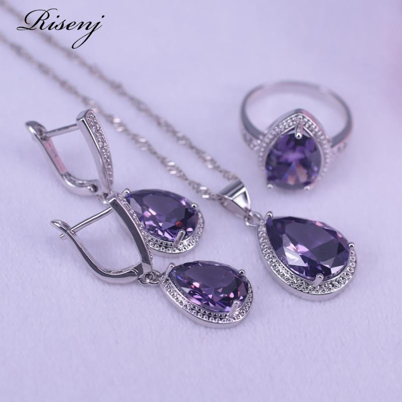 רבים צבעים סגול קריסטל כסף צבע תכשיטי גדול מים Drop כיכר כלה תכשיטי עגילי שרשרת טבעת סט