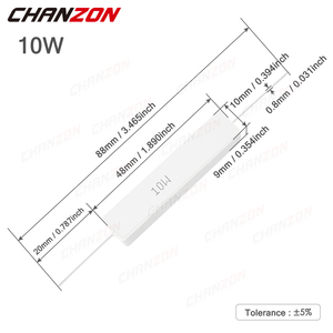 10 шт. 10 Вт 5% цементные проволочные резисторы 1 - 10 кОм 10 Вт Индуктивная фиксированная проволочная рана керамическое сопротивление 10 15 100 250 1K 1 кОм