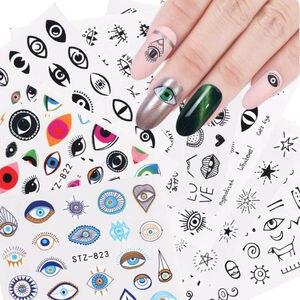 1 шт., слайдер для переноса воды в глаза, арт-деко для ногтей, Очаровательная наклейка для маникюра, тату, аппликация в виде листьев