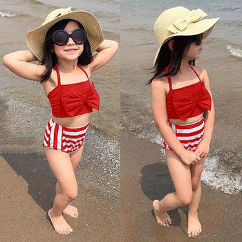 Geckatte New Baby Girl Clothes Bow Top+stripe Shorts Soft Toddler Girl Clothes Boutique Kids Clothing Girls Children's Swimwear 6p510 wholesale baby kids boutique clothing lots