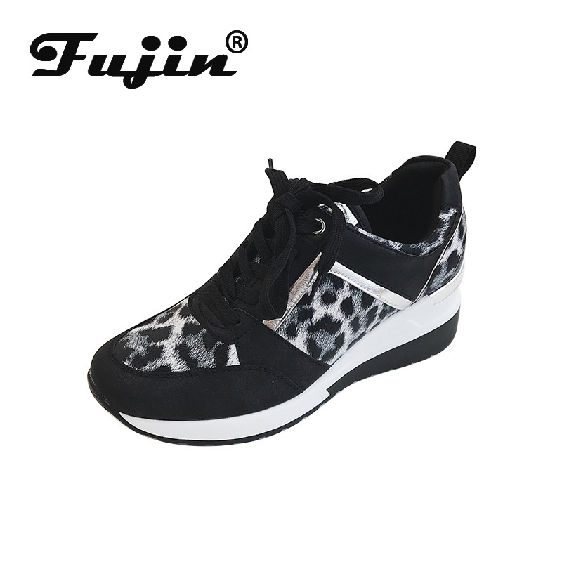 Fujin Sneakers Women 2020 Autumn Spring Fashion Wedge Round Toe Mesh Lace Breathable Leopard Print Bling Leisure Women Shoes