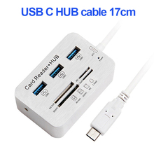 Type-C Cable 17cm USB Hub  3 Ports Multi TF SD Card Reader For PC Tablet Laptop Computer Notebook 1pcs