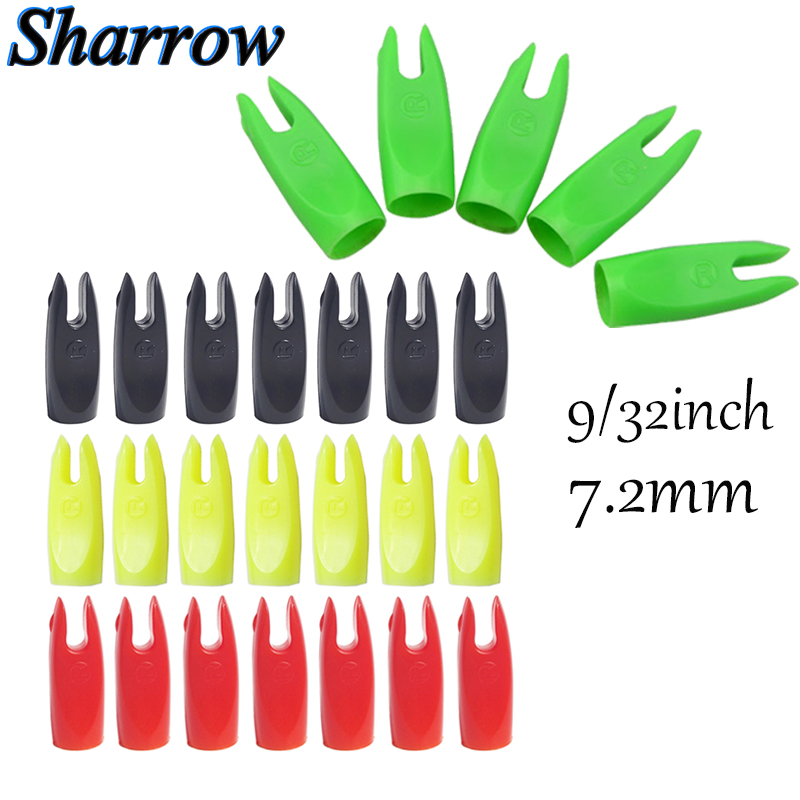 50 Pcs Archery Arrow Nock For 7.2mm Outer Diameter Tapered Fiberglass Wooden Bamboo Arrow Shaft Imported High Pressure Plastic
