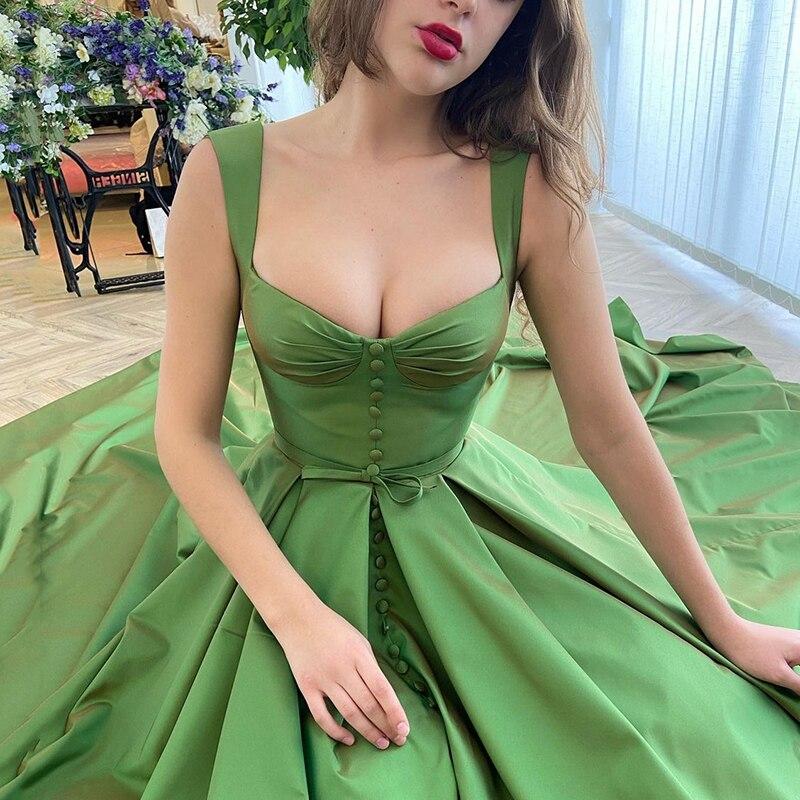 UZN Новое поступление детские зеленые атласные корсеты и бюстье A-Line платье для выпускного вечера элегантные ремни вечернее платье размера п...