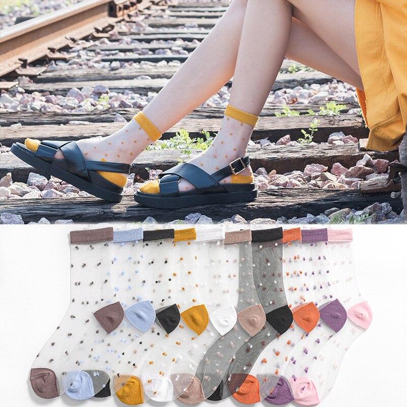 2020  Women's Spring Summer  Socks Breathable Transparent Mesh Short Socks Glass Silk Transparent Cute Dot Fashion Socks