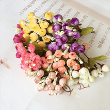 15 Heads Artificial Flower Bouquet Home Office Wedding Party Decoration Lifelike Fake Rose Buds Decorative