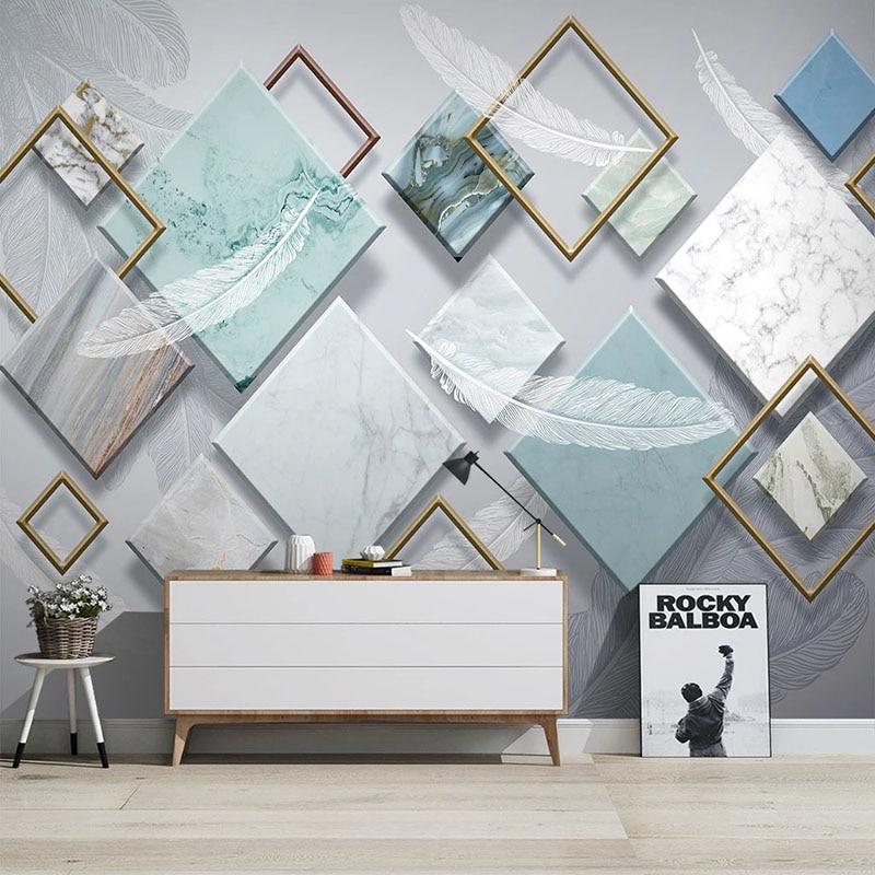 Custom Mural Wallpaper Modern Geometric White Feather Fresco Living Room TV Sofa Bedroom Home Decor Wall Painting Wallpapers 3 D