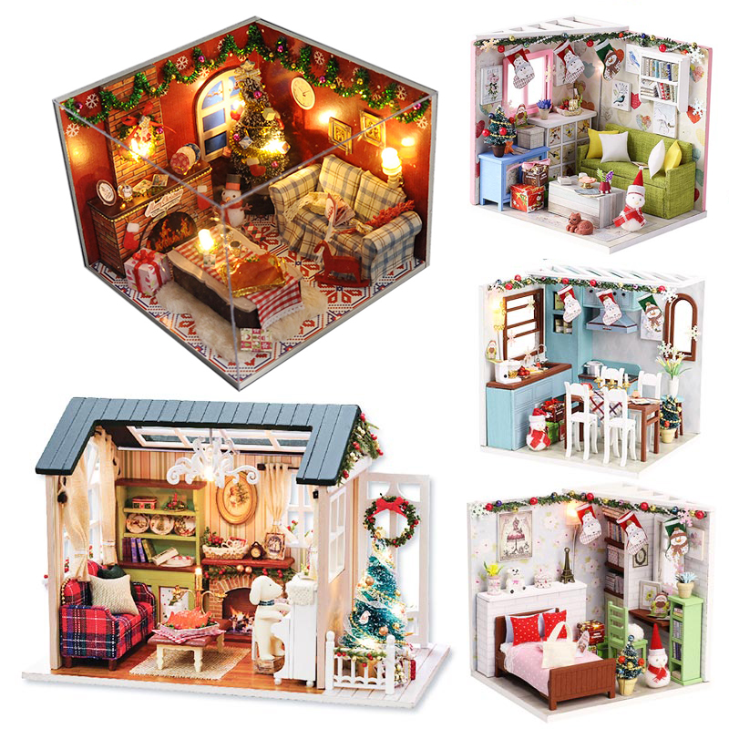 CUTEBEE Doll House Miniature DIY Dollhouse With Furnitures Wooden House Toys For Children  Christmas Gifts