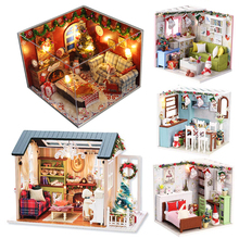 CUTEBEE Doll House Miniature DIY Dollhouse With Furnitures Wooden House Toys For Children  Christmas Gifts diy miniature doll house casa toys dollhouse wooden model with 3d led furnitures house for dolls handmade toys for children e