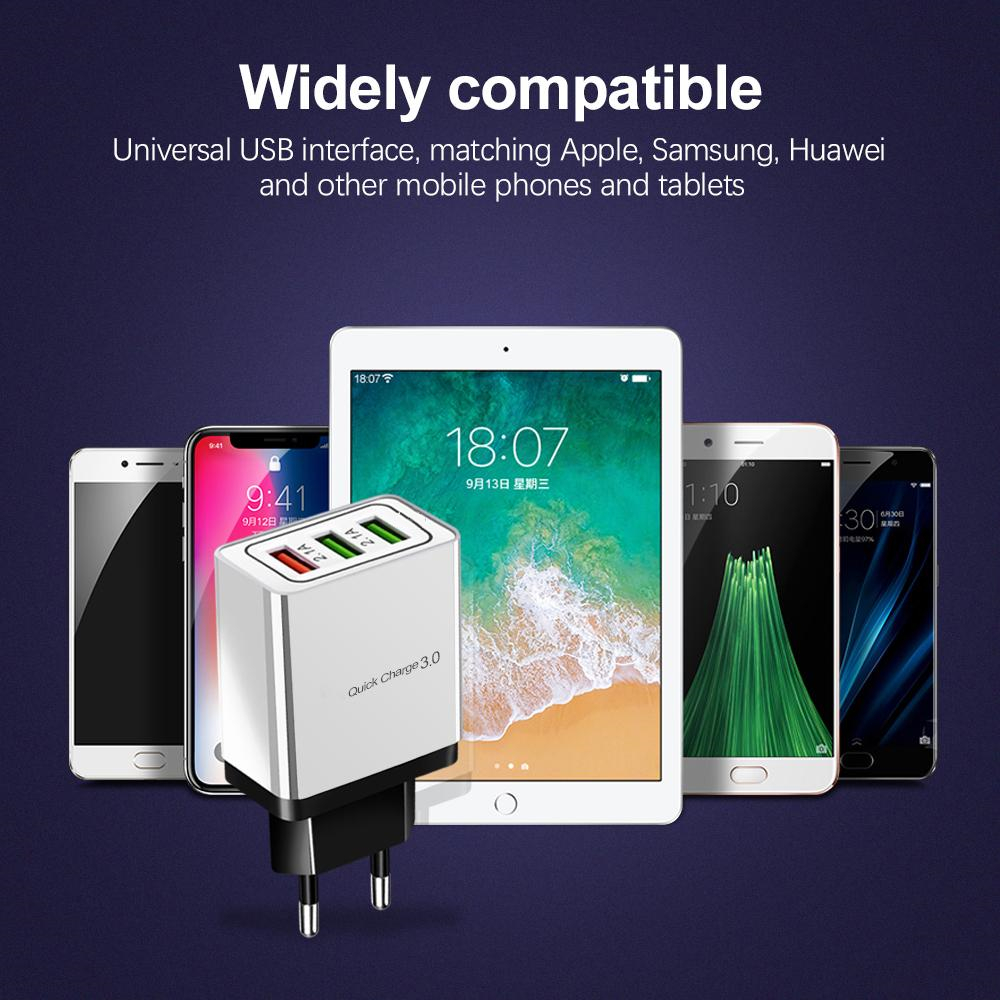 Image 5 - ROCK Quick Charging QC 3.0 Smart Fast 3 USB Wall Charger For Xiaomi Samsung Huawei Quick Charge Charging Adapter Mobile Phone-in Mobile Phone Chargers from Cellphones & Telecommunications
