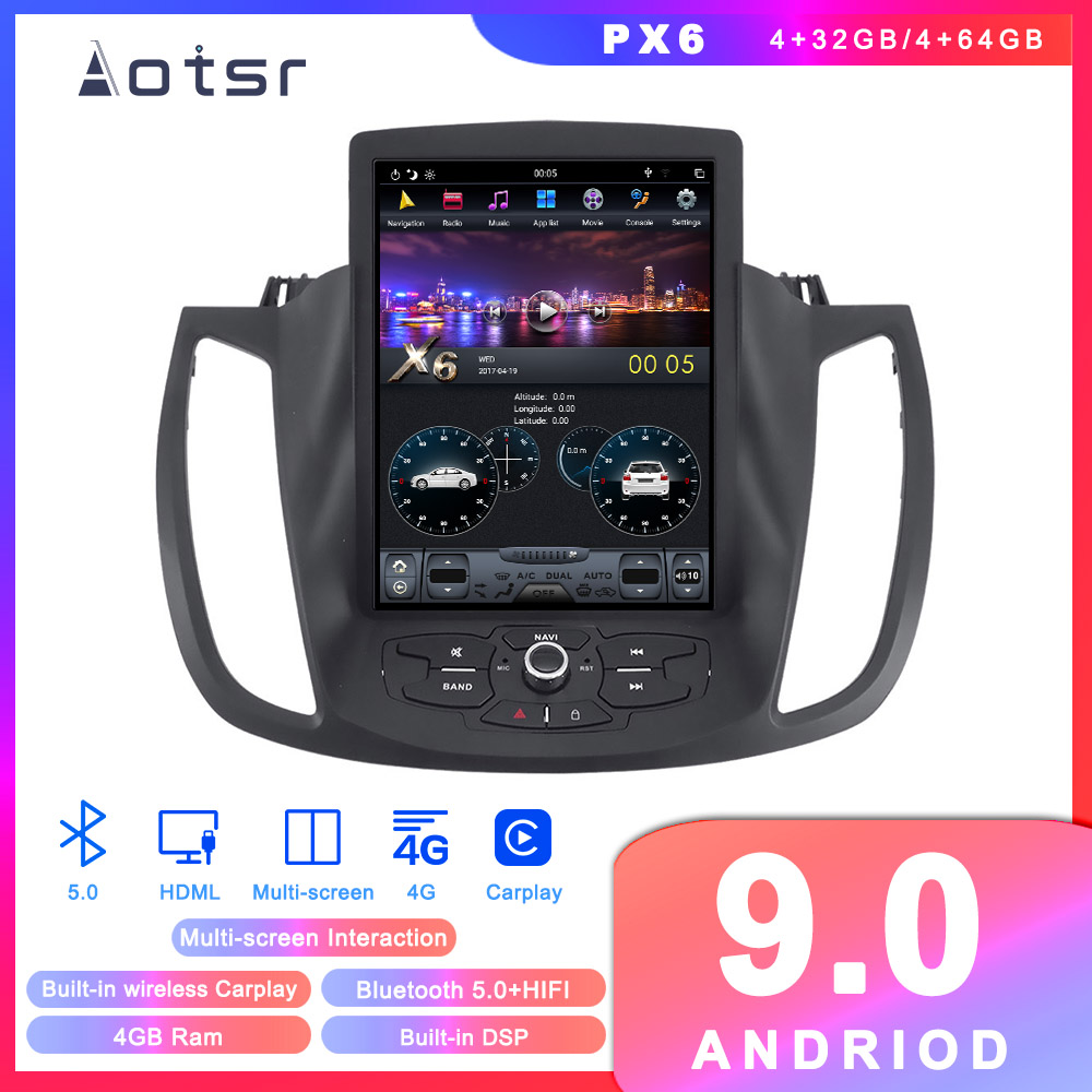 Android 9 Tesla style Car CD Player <font><b>GPS</b></font> navigation for <font><b>Ford</b></font> Kuga <font><b>Escape</b></font> 2013-2018 Auto Radio Stereo Head Unit Multimedia Player image