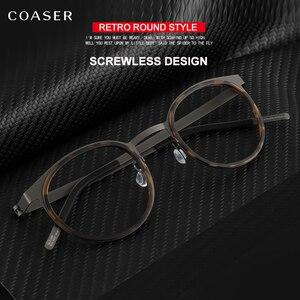 Image 3 - 브랜드 디자인 티타늄 안경 프레임 남자 금속 빈티지 라운드 처방 안경 근시 광학 안경 스펙타클