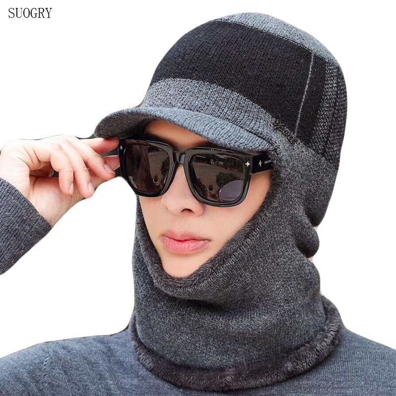 SUOGRY 2019 New High Quality Winter Knit Beanie Scarf Set Thick Lining Plus Velvet Men's Visor Hat Warm Dad Cap Soft Balaclava