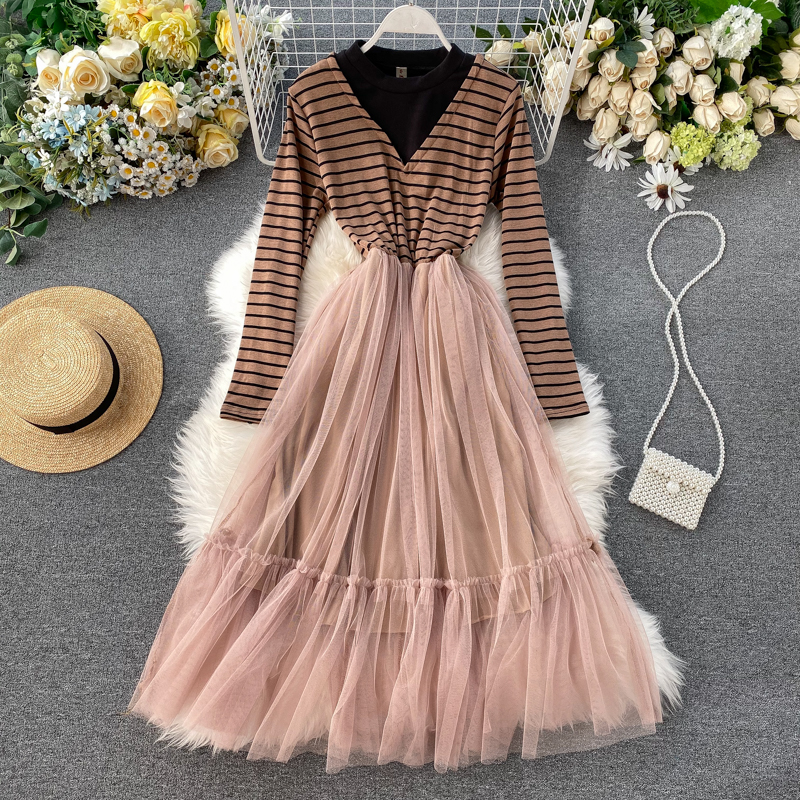 Striped Dress Korean Style Tulle Dress Long Mesh Patchwork Long Sleeve Dress Women Winter Dresses Woman Party Night 2019 Vintage In Dresses From Women S Clothing On Aliexpress