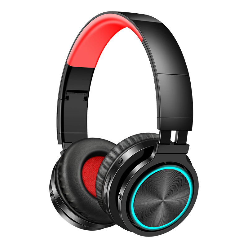 B12 Wireless Bluetooth Headset 5.0 Folding Stereo Gaming Headphones 7 Color LED Light Earphone For PC Laptop Computer