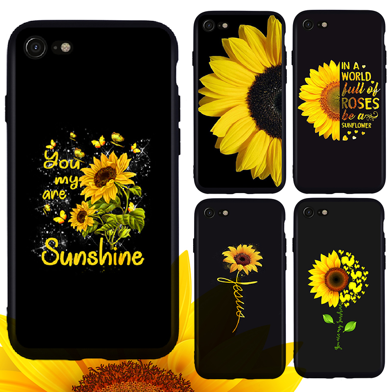 Sunflower Phone Case for Iphone 6 6s 7 8 plus X XR XS XSmax Black Matte Soft TPU Back Covers for Iphone 5 5s SE