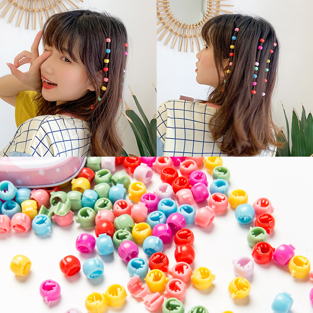 90pcs Baby Mini Hair Claws Kids Girls Women Candy Colors Beads Hair Claw Clips Pins Buckle Hairpin Headwear Hair Accessories
