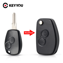 KEYYOU 10X 2 przycisk zmodyfikowany obudowa kluczyka dla Renault Dacia Modus Duster Clio Espace odwróć składany klucz zdalny surowe kluczyki samochodowe