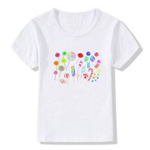 Girls T-Shirt Tops Short-Sleeve Kids Clothes Candy-Print Cute Summer O-Neck Casual
