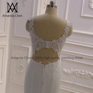 Image 4 - bride dress Simple Elegant Cap Sleeve Lace Appliques Keyhole Back Beach Wedding Dress