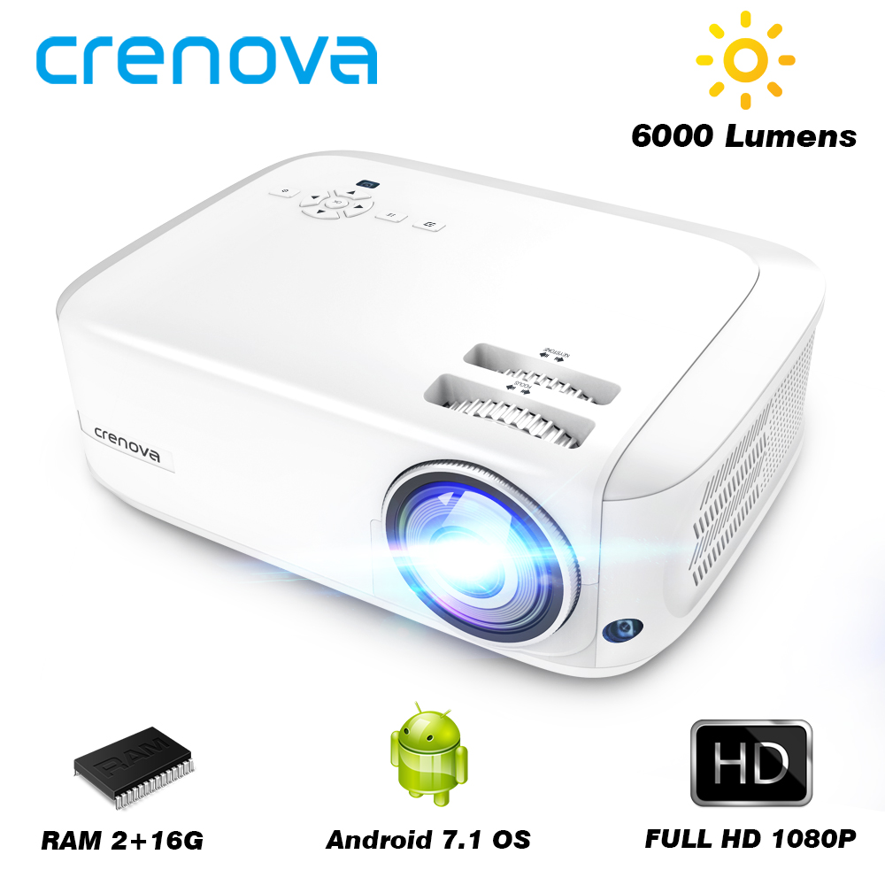CRENOVA 2019 Newest Full HD 1080P Android Projector 6000 Lumens Android 7.1.2 OS Video Projector Support 4K Dolby 2G 16G Beamer(China)