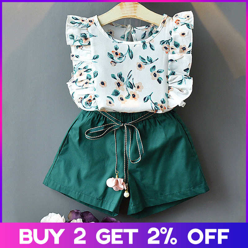 Menoea Girls Sets New Spring Summer Floral Children Sleeveless T-shirt+Solid Shorts 2PCS Kids Suit Fashion 3-7T Children Clothes