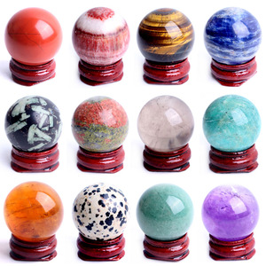 1PC 28-30mm Natural Amethyst Obsidian Crystal Ball Sphere Stand Gemstone Quartz Globe Pedestal Healing Fengshui Home decor(China)