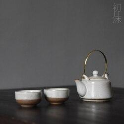 Handmade Japanese crude pottery tea pot cup white glaze teapot tea set copper handle teaware Chinese ceremony
