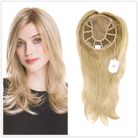 Hstonir European Remy Hair Hairpiece Handtied Magic Top Piece With Clips Toppers For Women Mono Wig Jewish TP18
