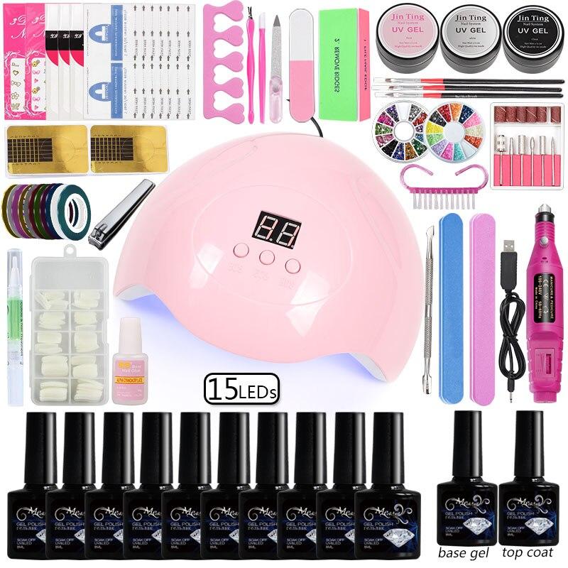 10 Color Gel Nail Polish Set Manicure Set Nail Kit Dryer Lamp 36/48/80w Kit  Acrylic Set  Professional Set Manicure Art Tools
