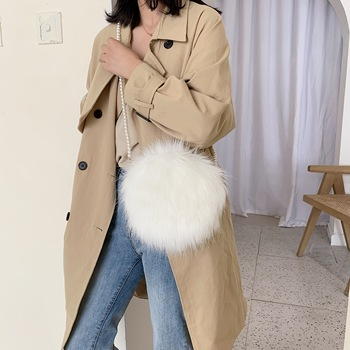 White shoulder bag fashion faux fur handbag soft and comfortable suede handbag round autumn and winter hot mini pearl chain bag 1