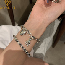 XIYANIKE 925 Sterling Silver New Animal Chain Bracelet Woven Twist Retro Distressed Unique Design Neutral Handmade Couple Gifts