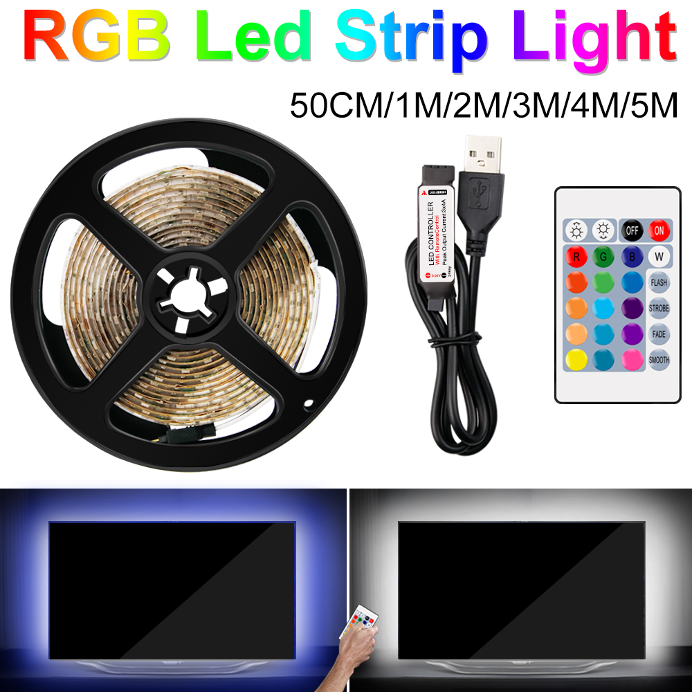 RGB LED Strip Light 5V Led Light Tape 2835 Waterproof Rgb Led Strip IP65 TV Backlight Diode Ribbon Flexible Controller 0.5M~5M