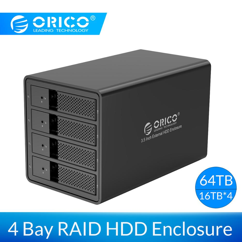 ORICO 4 Bay 3.5'' USB 3.0 To SATA HDD Enclosure Support 64TB HDD Docking Station Case With 150W Built-in Power Adapter HDD Case