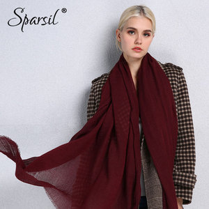 Image 4 - Sparsil Spring New Cotton Women Scarf Solid Color Crumple Retro Scarves With Short Tassels 180cm Big Shawls Muslim Female Hijabs