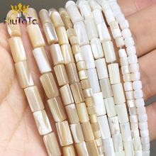 "Natural Trochus Top Shell Stone Beads Cylinder Shape Loose Bead For Jewelry DIY Making Bracelet Earring 15"" 3.5*3.5/4*8/5*10mm(China)"