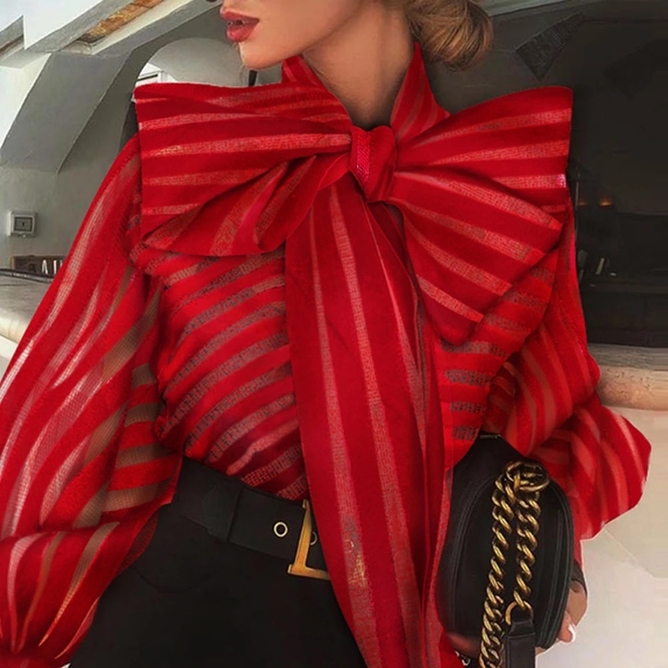 Women Fashion Red Blouse Shirts Elegant Plus Size Bow Lantern Sleeve Autumn Fall 2020 Office Lady Work Blouse Shirts Tops New