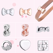 цены Charms Real 925 Sterling Silver Infinity symbol Bow Heart-shaped Original Reflexion Fit Original Pandora Bracelet DIY