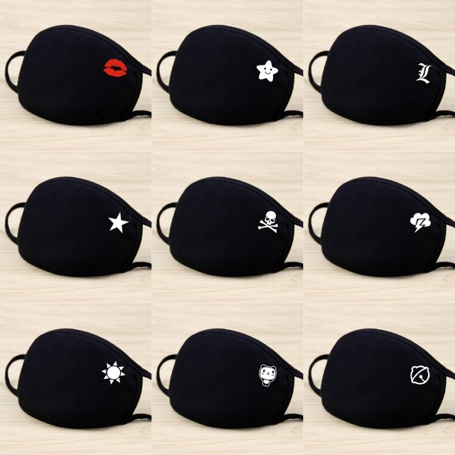 Black Cotton Dustproof Mouth Face Mask Cute Anime Cartoon Kpop Anime Lucky Bear Women Men Muffle Face Disposable Mouth Cover