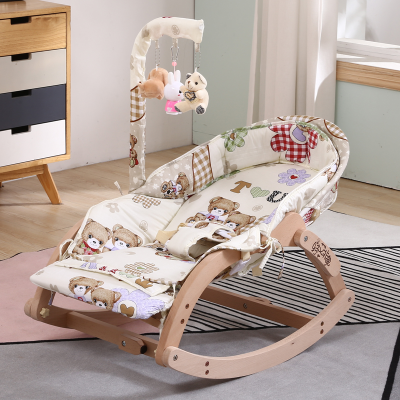 Comfort Chair Baby Rocking Chair Multi-functional Small Cradle Bed For Newborns Solid Wood With Bed Bell